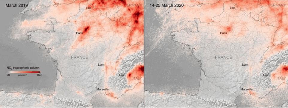 Carte Paris pollution confinement