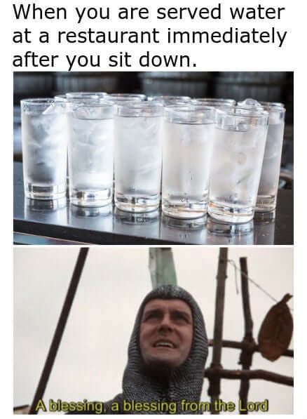 eau au restaurant